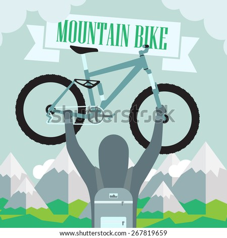 conquest of height on a mountain bike - stock vector