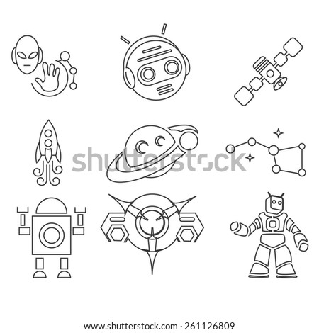 conquest of space outline edition 2 - stock vector