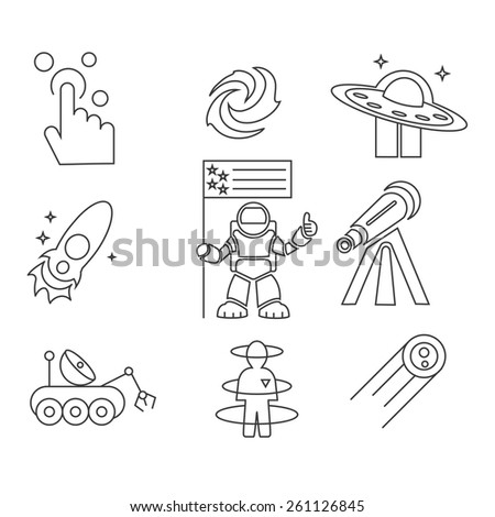 conquest of space outline edition 1 - stock vector