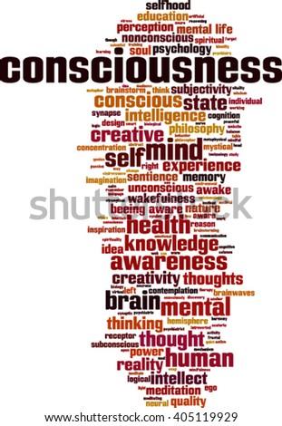 Consciousness word cloud concept. Vector illustration - stock vector