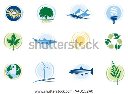 Conservation icons - stock vector