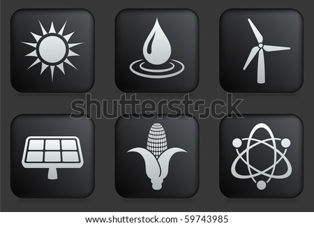 Conservation Icons on Square Black Button Collection Original Illustration - stock vector