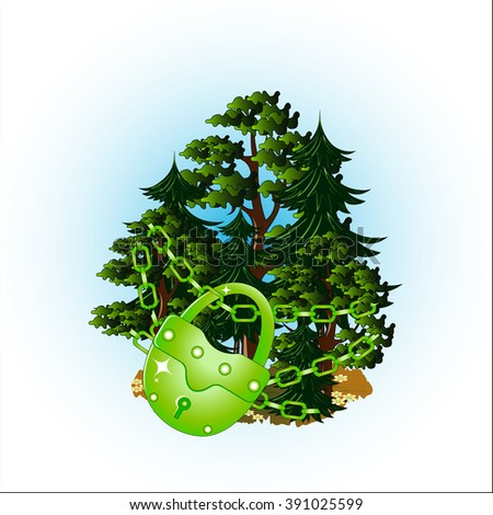 Conservation of the wood on the earth. Vector illustration.