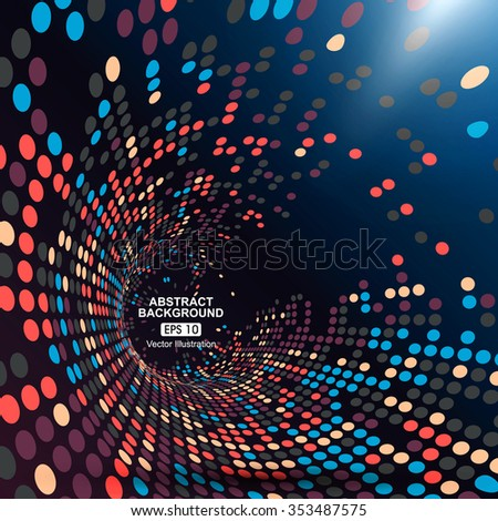 Consisting of colorful little, radial graphics, abstract background. - stock vector