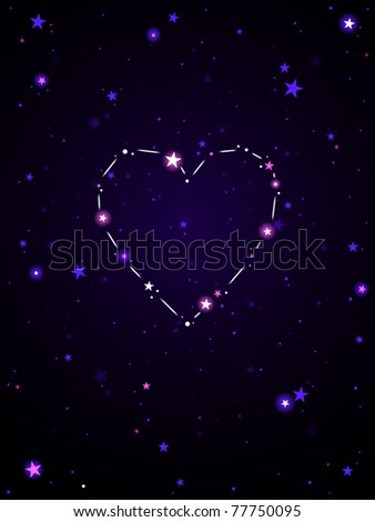 Constellation in the shape of a heart - stock vector