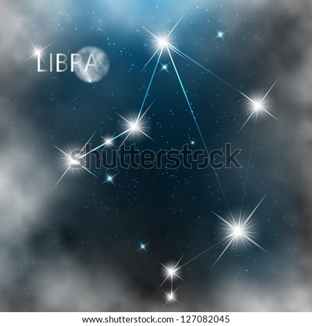 Constellation sign bright stars in cosmos with moon and clouds. - stock vector
