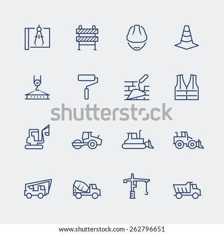 Construction and building icon set in thin line style - stock vector