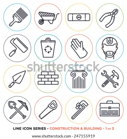 Construction and building line icons set. Vector collection of construction symbols. - stock vector