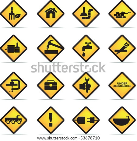 construction and diy black silhouette icon button set - stock vector