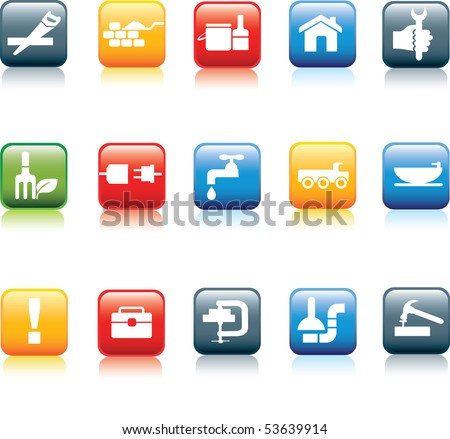 construction and do it yourself detailed icon square color button set - stock vector