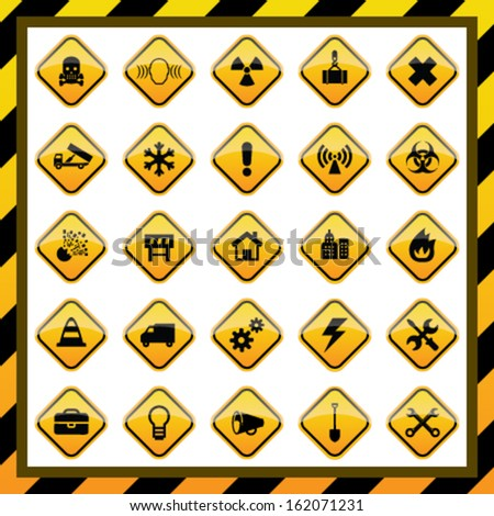 Construction and hazard signs - stock vector