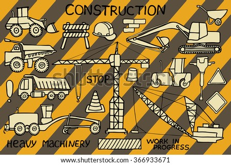 Construction and heavy machinery sketch. Hand-drawn cartoon industry icon set. Doodle drawing. Vector illustration.