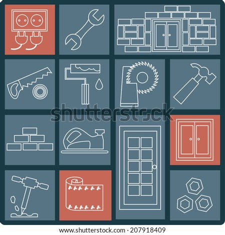 Construction and home repair icon set, white lines design vector collection - stock vector