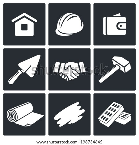Construction and home repair icons set - stock vector