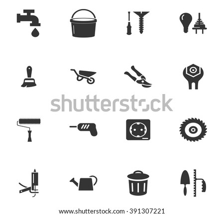 Construction and repair icons set and symbols for web user interface - stock vector