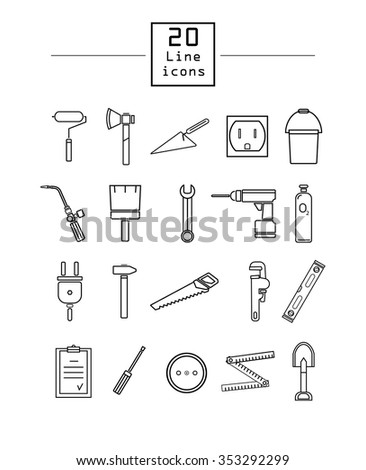 Construction and repair, 20 line icons set. - stock vector