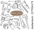 Construction and repair tools. Vector illustration with objects for construction and home repairs. Hand drawn design elements.  - stock vector