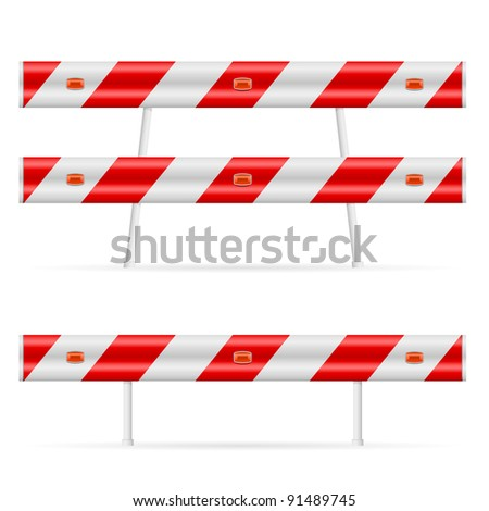 Construction barricade - road block. Illustration on white background. Second edition. - stock vector