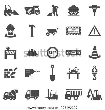 Construction black icons set.Vector - stock vector
