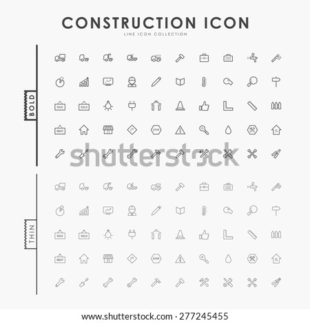 construction bold and thin line icons - stock vector