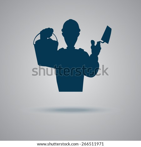 construction, brick, wall, worker, icon, vector, illustration  - stock vector