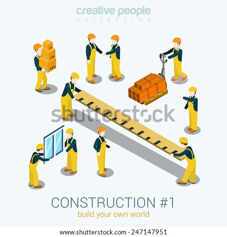 Construction builders people set flat 3d web isometric infographic concept vector. Yellow uniform building constructor worker staff brick box ruler window. Build your world creative people collection. - stock vector
