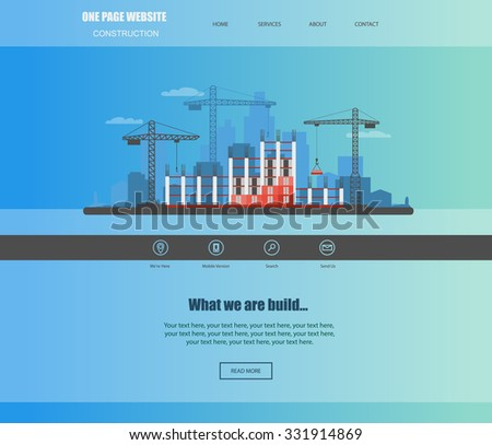 Construction Building A House Vector Flat Illustration Website