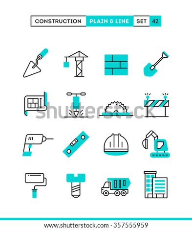 Construction, building, project, tools and more. Plain and line icons set, flat design, vector illustration - stock vector