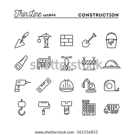 Construction, building, project, tools and more, thin line icons set, vector illustration - stock vector