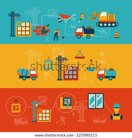 Construction building structures infographics flat banners set of walls panels and window panes installation abstract vector illustration - stock vector