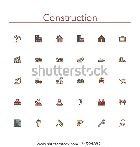 Construction colored line icons set. Vector illustration.