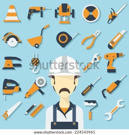 Construction concept with flat icons and builder. Vector illustration - stock vector