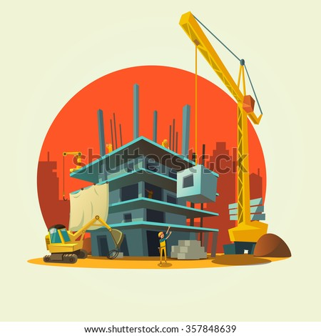 Construction concept with retro style concept workers and machines building house cartoon vector illustration - stock vector