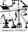 construction crane collection - vector - stock vector