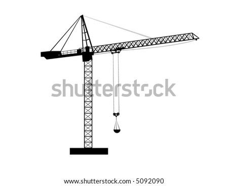 Construction crane silhouette - stock vector