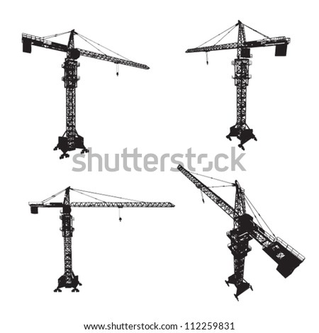 construction cranes set - stock vector