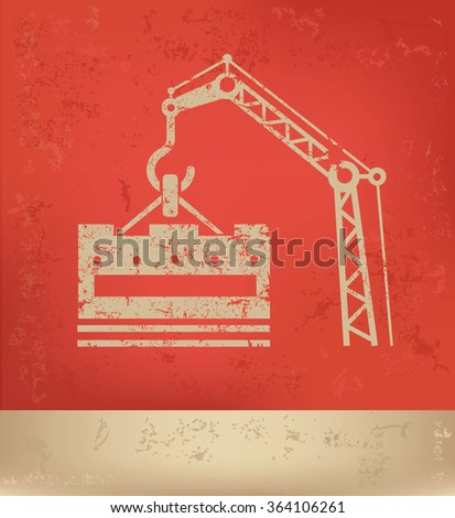 Construction design on red background,grunge vector - stock vector