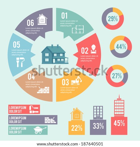 Construction engineering and building infographic elements with circle diagram vector illustration - stock vector