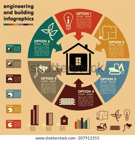 Construction engineering and building Infographics Concept. Vector - stock vector