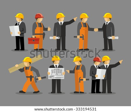 Construction Engineering Industrial Workers Project Manager Vector  - stock vector
