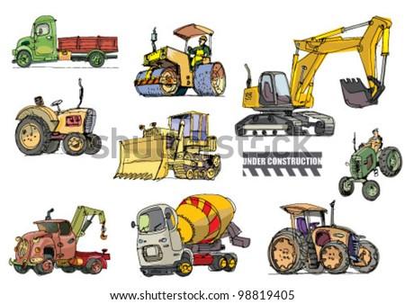 construction equipment - cartoon - stock vector