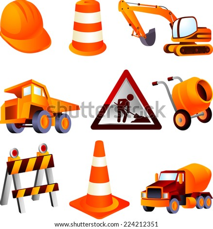 Construction equipment, dump truck, cement mixer, construction, barrel, cone, helmet, truck, lifting truck, drum. Vector Illustration Cartoon.  - stock vector