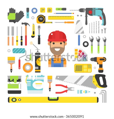 Construction equipment tools flat icons set. Flat style vector illustrations under construction. Tools like hammer, drill, ruler, repair and saw vector objects - stock vector
