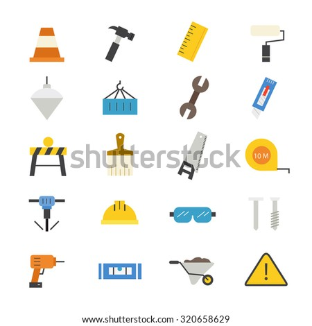 Construction Flat Icons color - stock vector