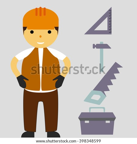 Construction flat icons set with builder. Isolated vector illustration - stock vector