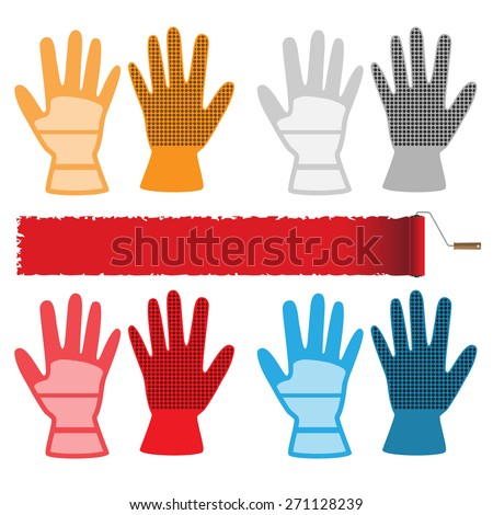 Construction gloves isolated on white background. Set of icons. Vector illustration. - stock vector
