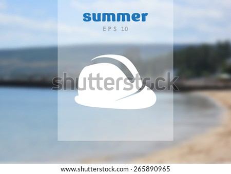 construction hat, web icon. on blurred background vector design - stock vector