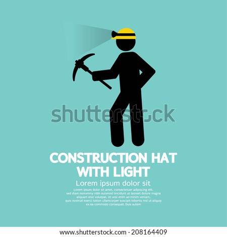 Construction Hat With Light Symbol Vector Illustration - stock vector