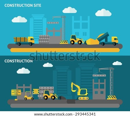 Construction horizontal banner set with flat building tools elements isolated vector illustration - stock vector