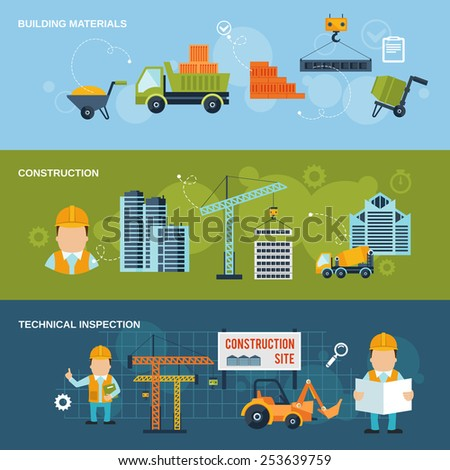 Construction horizontal banners set with building materials technical inspection isolated vector illustration - stock vector